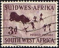 South West Africa 1960 SG 168 Rock Paintings Rhinoceros Hunt Fine Used