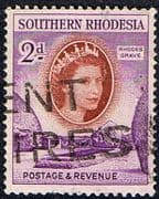 Southern Rhodesia 1953 QE II SG 80 Rhodes Grave Fine Used