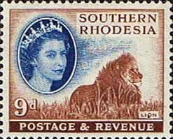 Stamps of Southern Rhodesia 1953 QE II SG 85 Lion Fine Mint SG 84 Scott 88