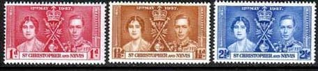 Postage Stamps St Christopher and Nevis St Kitts 1937 King George VI Coronation