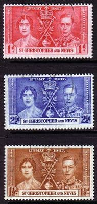 St Christopher Nevis St Kitts Stamps King George VI Coronation