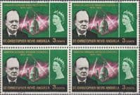 St Christopher Nevis Anguilla 1966 Churchill SG 152 Fine Used Block of 4