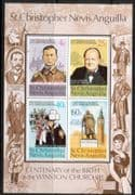 St Christopher Nevis Anguilla 1974 Churchill Centenary Miniature Sheet Fine Mint