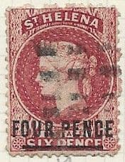 St Helena 1868 Queen Victoria Surcharged SG 14 Fine Used