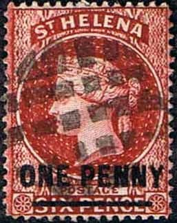 St Helena 1884 Queen Victoria Surcharged SG 37 Fine Used