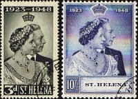 St Helena 1948 King George VI Royal Silver Wedding Set Fine Used