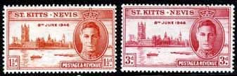 St Kitts and Nevis 1946 King George VI Victory Set Fine Mint