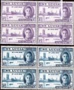 St Lucia 1946 King George VI Victory Set in Block of 4 Fine Mint