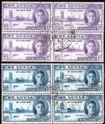 St Lucia 1946 King George VI Victory Set in Block of 4 Fine Used