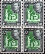 St Vincent 1949 King George VI SG 164a Fine Mint Bloc of 4