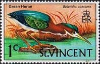 St Vincent 1970 Birds SG 286 Green Heron Fine Mint