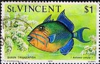 St Vincent 1975 Fish SG 440 Queen Triggerfish Fine Used