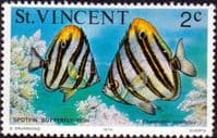 St Vincent 1975 Marine life SG 423 Butterfly Fish Fine Mint
