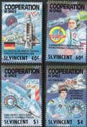 St Vincent 1989 International Co-operation in Space Set Fine Mint