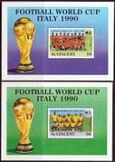 St Vincent 1989 World Cup Football Championship Set of Miniature Sheets Fine Mint