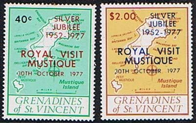 St Vincent Grenadines 1977 Royal Visit Set Fine Mint