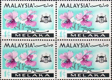 State of Malacca 1965 Orchids SG 61 Fine Mint Block of 4