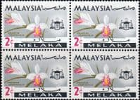 State of Malacca 1965 Orchids SG 62 Fine Mint Block of 4
