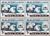 State of Malacca 1965 Orchids SG 63 Fine Mint Block of 4
