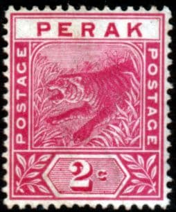 Stamps Malay State of Perak 1892 Tiger SG 62 Good Used Scott 43