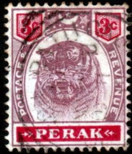 Stamps Malay State of Perak 1895 Tiger SG 68 Fine Used Scott 49