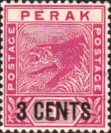State of Perak 1895 Tiger Surcharged SG 65 Fine Mint