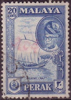 Postage Stamps Malay State of Perak 157 Fishing Boat Fine Used  SG 157 Scott 133