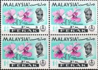 State of Perak 1965 Flowers Orchids SG 163 Fine Mint in Blocks of 4
