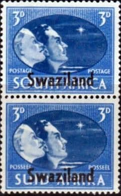 Swaziland 1946 King George VI Victory SG 41 Vertical Pair Fine Mint