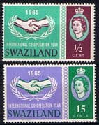 Swaziland 1965 International Co-operation Year Set Fine Used