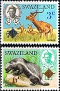 Swaziland 1975 Impala an Ratel Surcharged Set Fine Mint