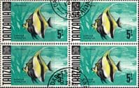 Tanzania 1967 Fish SG 155a Block of 4 Fine Used