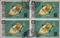 Tanzania 1967 Fish SG 156a Block of 4 Fine Used