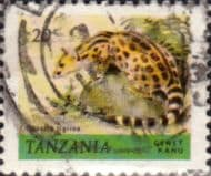 Stamps Tanzania 1980 Wildlife Genet Fine Used SG 308 Scott 168