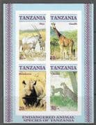 Tanzania 1986 Endangered Animals Minature Sheet Imperf Fine Mint