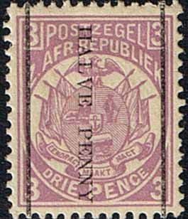 Transvaal 1885 SG 192 Half Penney Surcharge Going Downwards Fine Mint