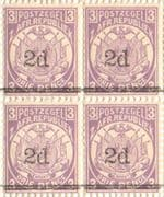 Transvaal 1887 SG 194 2d. Surcharged with Thick Bar Fine Mint Block of 4