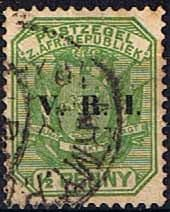 Transvaal 1900 SG 226 Coat of Arms with V.R.I. Overprint Fine Used