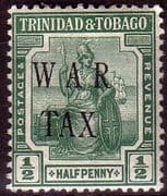 Trinidad and Tobago 1917 WAR TAX Overprint SG 179 Fine Mint