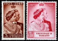 Trinidad and Tobago 1948 King George VI Royal Silver Wedding Set Fine Mint