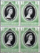 Trinidad and Tobago Queen Elizabeth II 1953 Coronation Fine Mint Block of 4