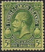 Turks and Caicos Island 1928 SG 185 King George V Head Fine Mint