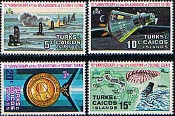 West Indies Stamps Turks and Caicos Island 1972 Splashdown Set Fine Mint