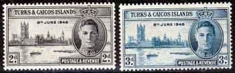 Stamps Turks and Caicos Islands 1946 King George VI Victory Set Fine Mint