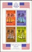 Turks and Caicos Islands 1976 Bicent of American Revolution Miniature Sheet Fine Mint