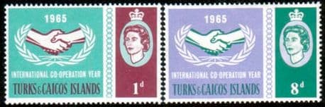 Postage Stamps of Turks Caicos Islands 1965 International Co-operation Year Set Fine Mint