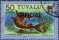 "Tuvalu 1981 Fish Hammerhead Shark ""OFFICIAL"" SG O15 Fine Used"