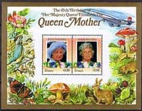 Tuvalu Nui 1985 Queen Mother Life and Times Miniature Sheet $3.50 Fine Mint