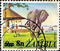 Zambia 1979 SG 279 African Elephant, Kasaba Bay Surcharged Fine Used